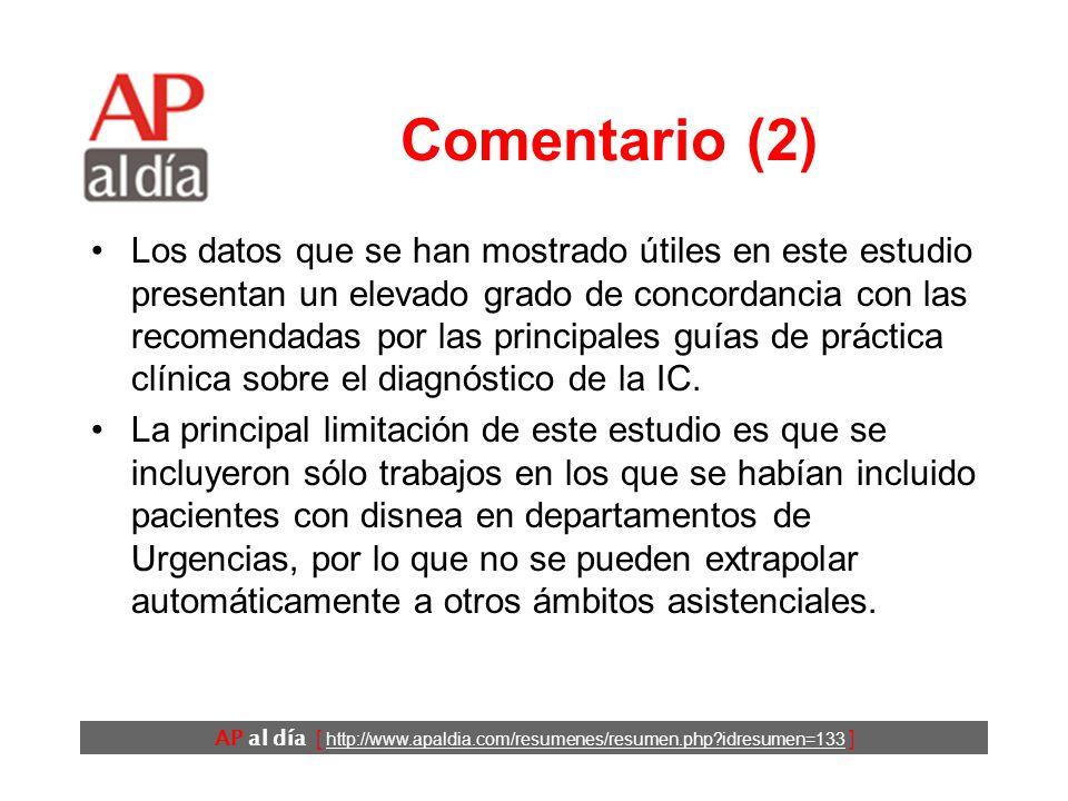AP al día [ http://www.apaldia.com/resumenes/resumen.php idresumen=133 ] Comentario (1) El diagnóstico de la IC se hace fundamentalmente a través de la historia clínica y un pequeño conjunto de pruebas sencillas.