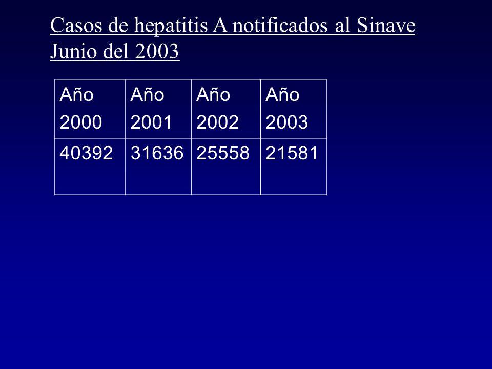 Casos de hepatitis A notificados al Sinave Año 1995 Año 1996 Año 1997 Año 1998 Año 1999 Año 2000 325672972932494257823201340392 Año 2000 (tasa de notificación 10,9/10.000 hab).