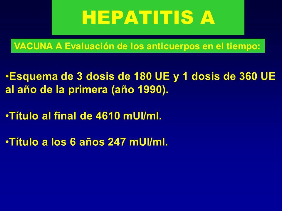 HEPATITIS A VACUNA A Evaluación de los anticuerpos en el tiempo: Esquema de 2 dosis de 720 UE a los 0-6 meses (año 1993).