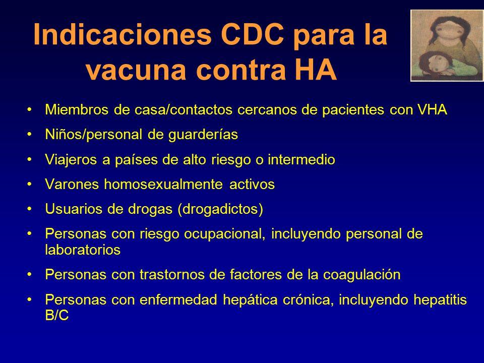 Estrategias de vacunación de rutina en áreas de incidencia elevada/moderada de HA En E.U.A., para todos los niños >2 años de edad en estados, condados o comunidades: donde la tasa anual promedio de incidencia de HA durante los últimos 10 años haya sido  20/100,000 se recomienda la vacunación de rutina contra HA donde la tasa anual promedio de incidencia de HA durante los últimos 10 años haya sido 10-20/100,000 deberá considerarse la vacunación de rutina contra HA