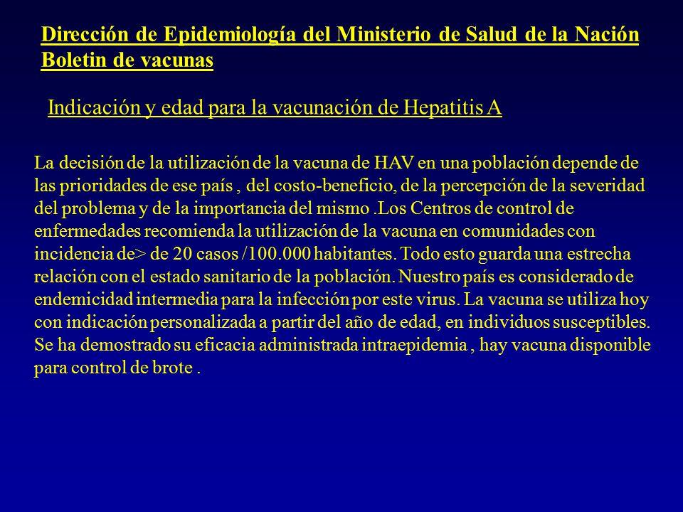 Indicaciones SAP para la vacuna contra HA A)Poblaciones de alto riesgo de infección por HAV: Inmunización masiva a edad temprana con mejoria de las condiciones Sanitarias.