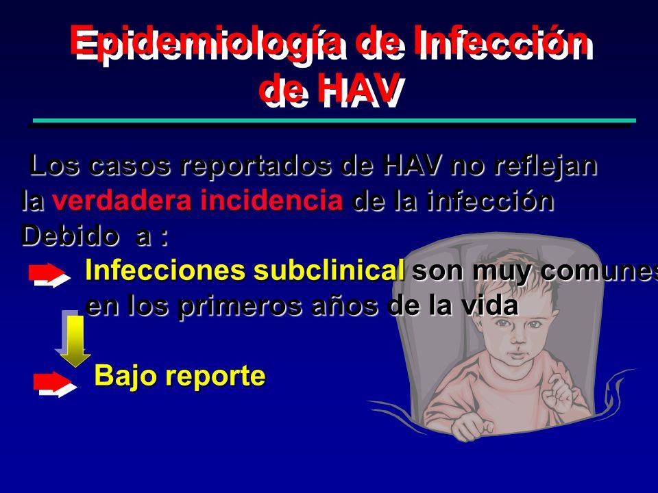 Distribución Geográfica de la Infección por HAV Anti-HAV (Prevalencia) Alta Intermedia Baja Muy baja
