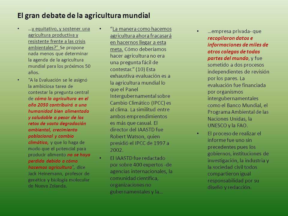 El gran debate de la agricultura mundial La manera como hacemos agricultura ahora fracasará en hacernos llegar a esta meta.