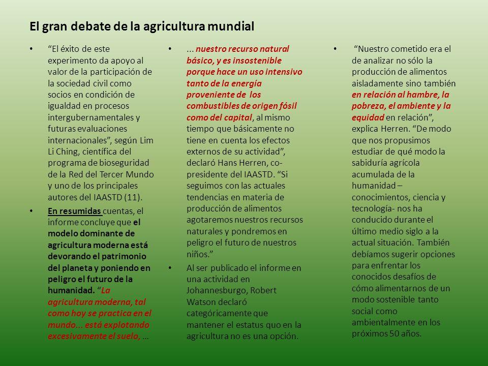 El gran debate de la agricultura mundial...