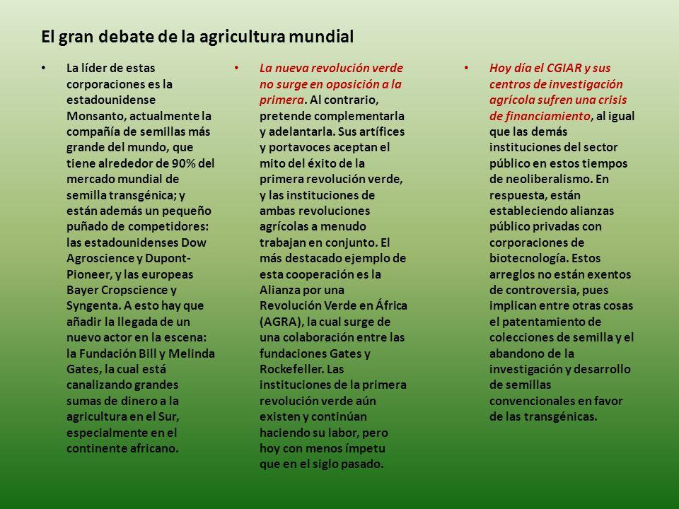 El gran debate de la agricultura mundial La nueva revolución verde no surge en oposición a la primera.