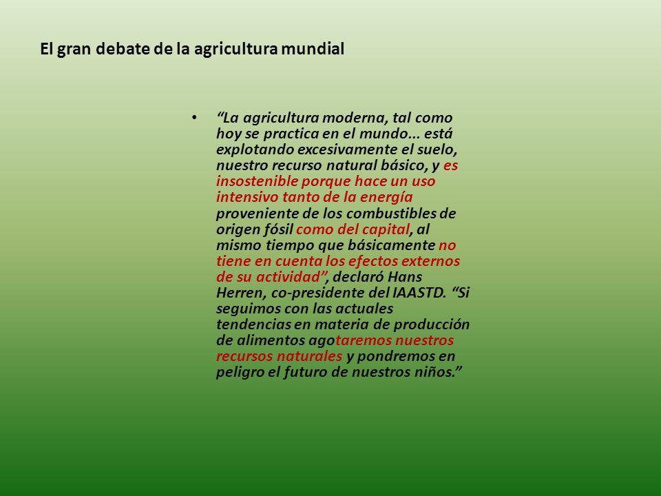 El gran debate de la agricultura mundial La agricultura moderna, tal como hoy se practica en el mundo...
