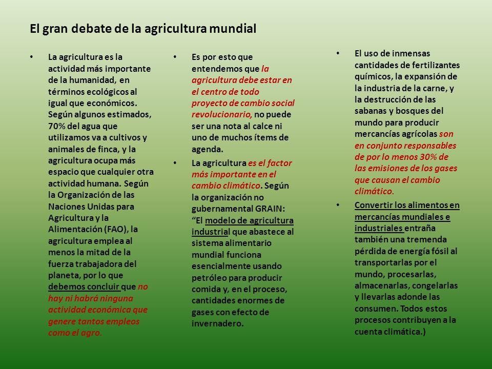 El gran debate de la agricultura mundial Es por esto que entendemos que la agricultura debe estar en el centro de todo proyecto de cambio social revolucionario, no puede ser una nota al calce ni uno de muchos ítems de agenda.