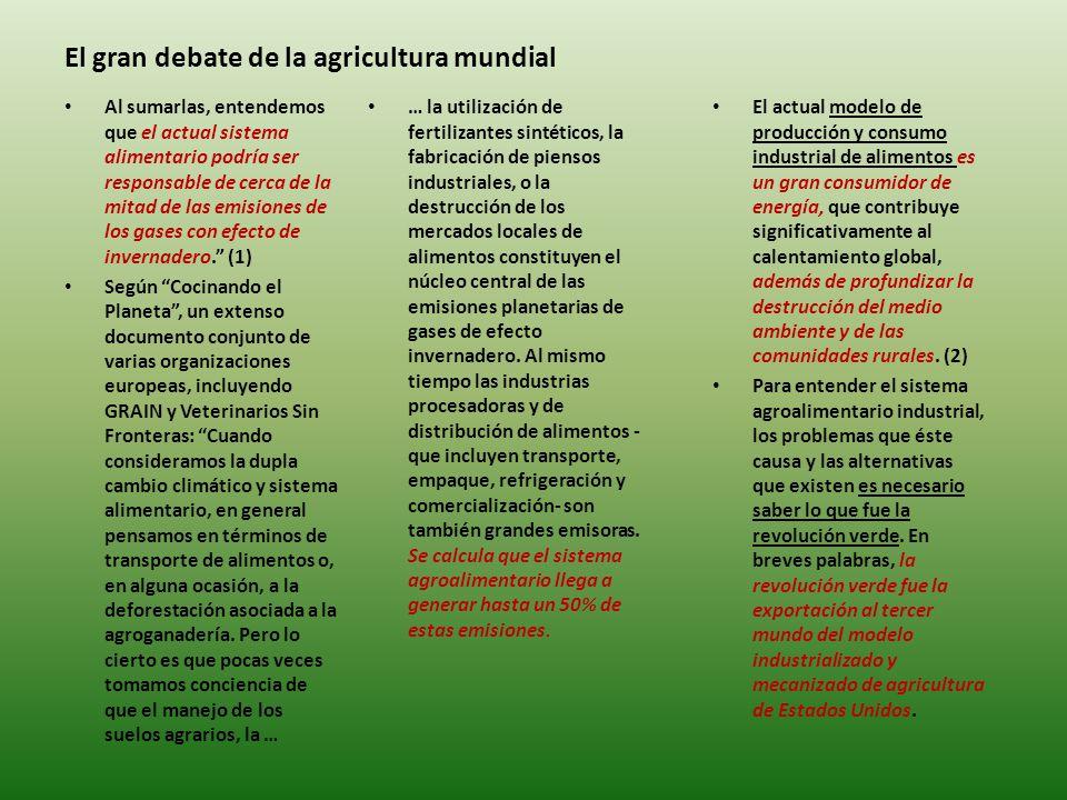 El gran debate de la agricultura mundial … la utilización de fertilizantes sintéticos, la fabricación de piensos industriales, o la destrucción de los mercados locales de alimentos constituyen el núcleo central de las emisiones planetarias de gases de efecto invernadero.