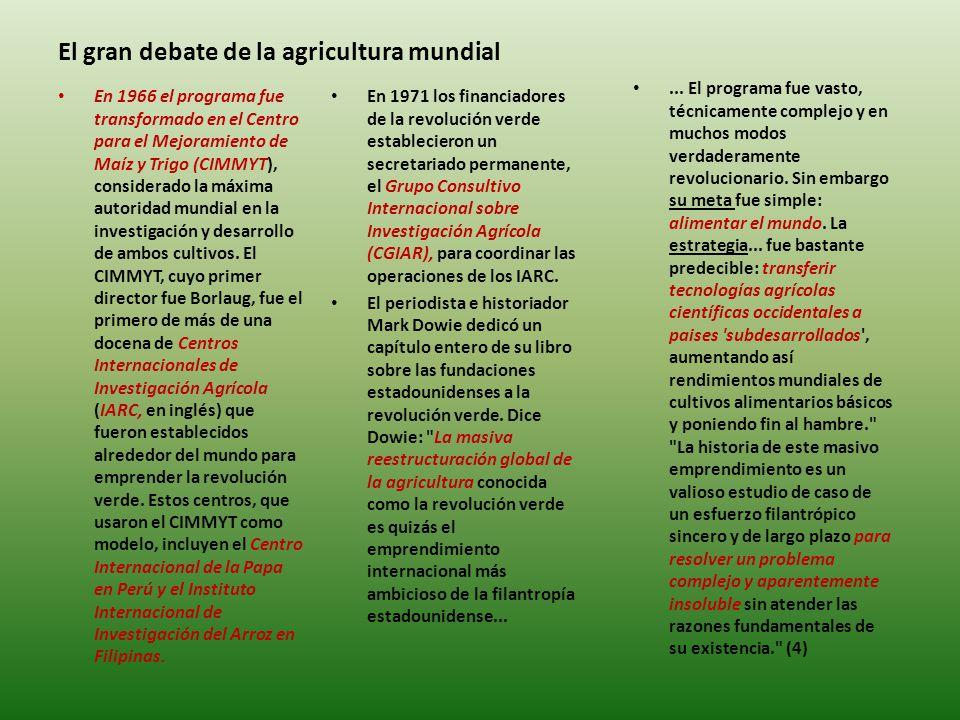 El gran debate de la agricultura mundial En 1971 los financiadores de la revolución verde establecieron un secretariado permanente, el Grupo Consultivo Internacional sobre Investigación Agrícola (CGIAR), para coordinar las operaciones de los IARC.