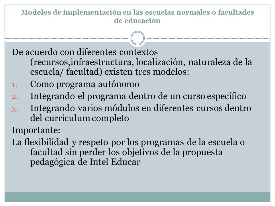 Modelos de implementación en las escuelas normales o facultades de educación De acuerdo con diferentes contextos (recursos,infraestructura, localización, naturaleza de la escuela/ facultad) existen tres modelos: 1.