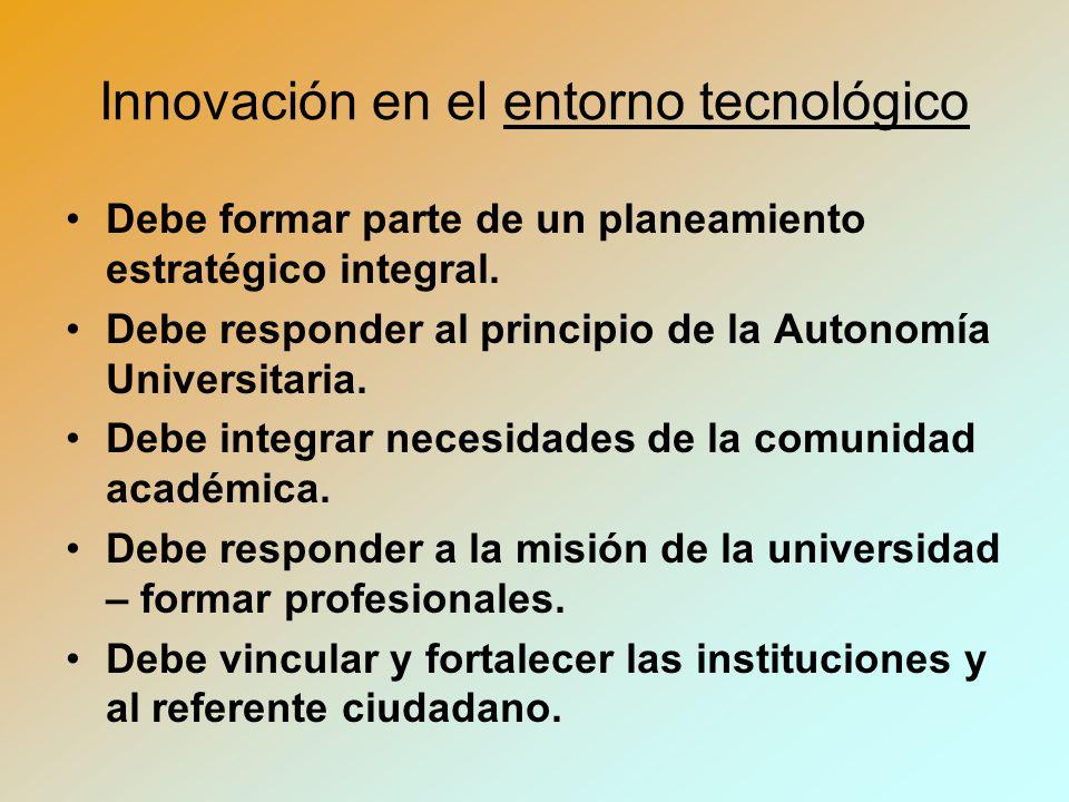 Innovación en el entorno tecnológico Debe formar parte de un planeamiento estratégico integral.