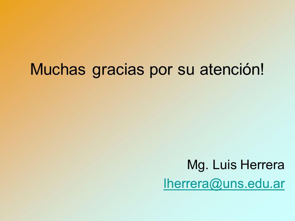 Muchas gracias por su atención! Mg. Luis Herrera lherrera@uns.edu.ar