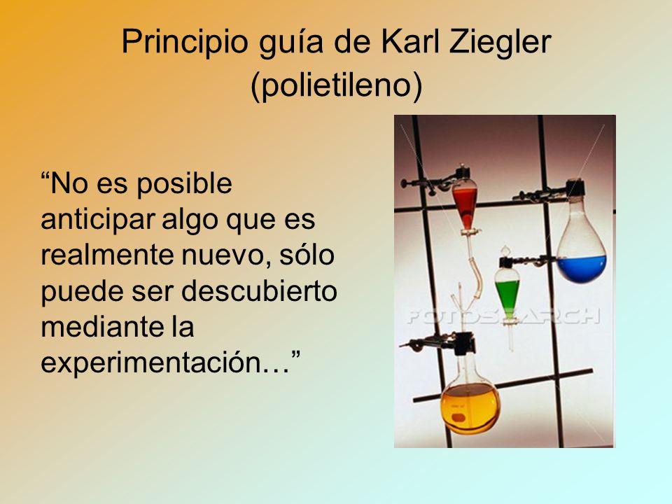 Principio guía de Karl Ziegler (polietileno) No es posible anticipar algo que es realmente nuevo, sólo puede ser descubierto mediante la experimentación…