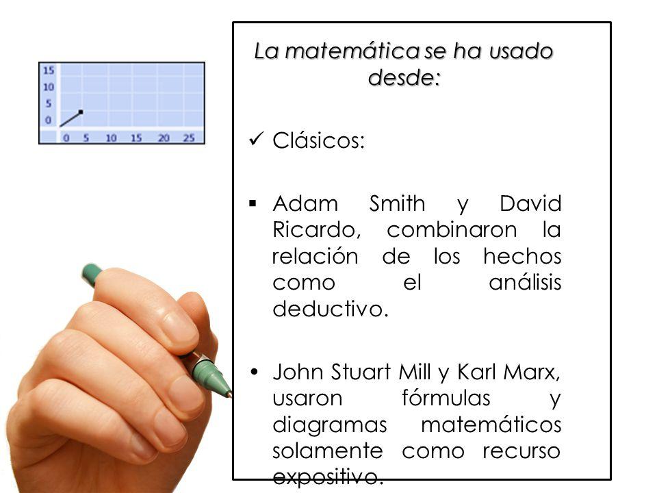 La matemática se ha usado desde: Clásicos:  Adam Smith y David Ricardo, combinaron la relación de los hechos como el análisis deductivo.