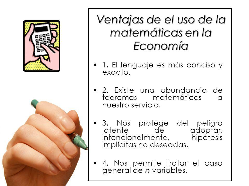 Ventajas de el uso de la matemáticas en la Economía 1.