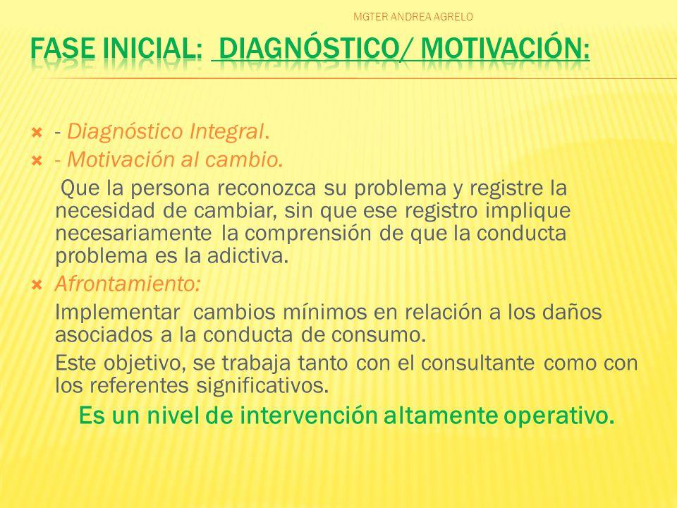  - Diagnóstico Integral.  - Motivación al cambio.
