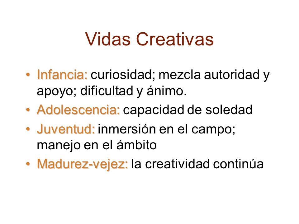 Vidas Creativas Infancia:Infancia: curiosidad; mezcla autoridad y apoyo; dificultad y ánimo.