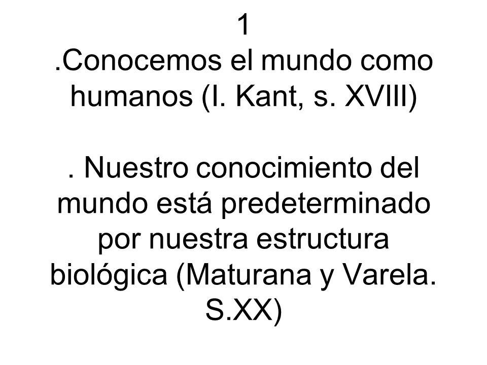 1.Conocemos el mundo como humanos (I. Kant, s. XVIII).