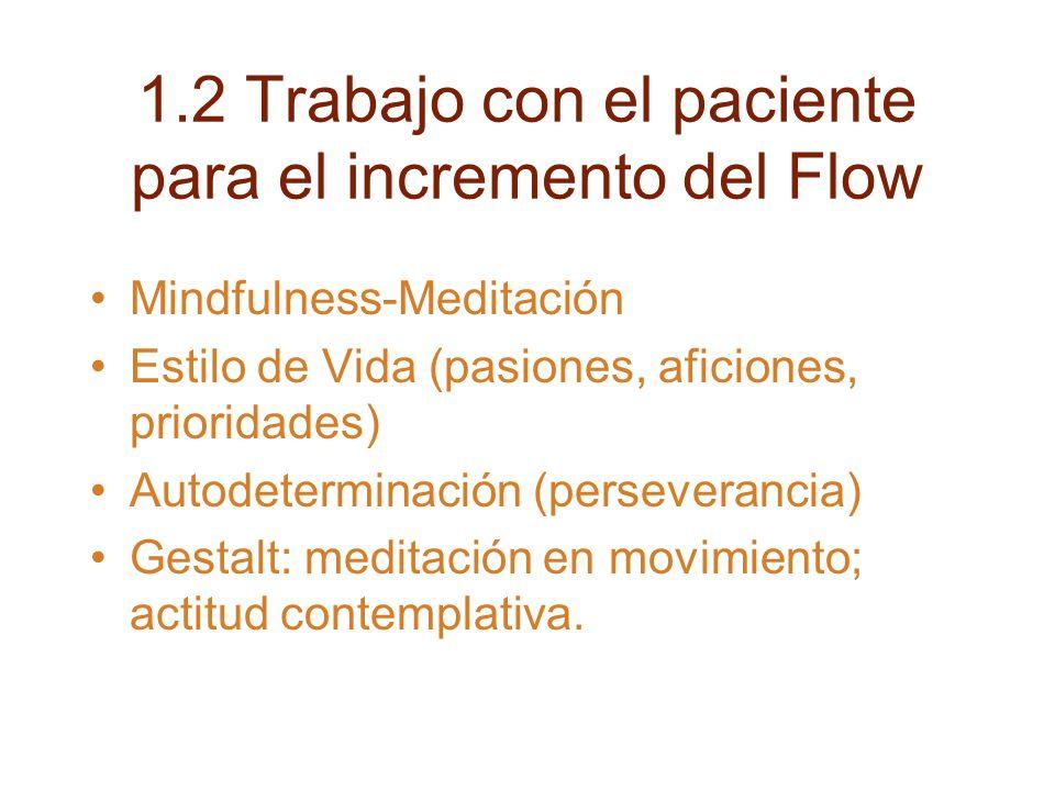 1.2 Trabajo con el paciente para el incremento del Flow Mindfulness-Meditación Estilo de Vida (pasiones, aficiones, prioridades) Autodeterminación (perseverancia) Gestalt: meditación en movimiento; actitud contemplativa.