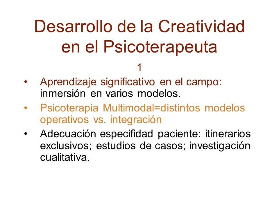 Desarrollo de la Creatividad en el Psicoterapeuta 1 Aprendizaje significativo en el campo: inmersión en varios modelos.