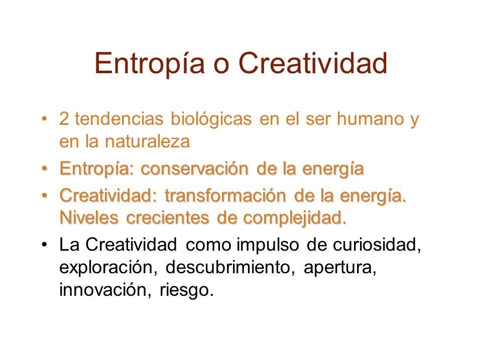 Entropía o Creatividad 2 tendencias biológicas en el ser humano y en la naturaleza Entropía: conservación de la energíaEntropía: conservación de la energía Creatividad: transformación de la energía.