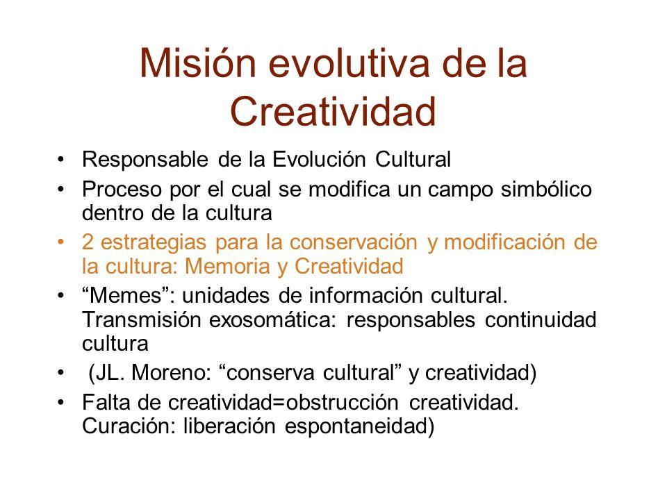 Misión evolutiva de la Creatividad Responsable de la Evolución Cultural Proceso por el cual se modifica un campo simbólico dentro de la cultura 2 estrategias para la conservación y modificación de la cultura: Memoria y Creatividad Memes : unidades de información cultural.