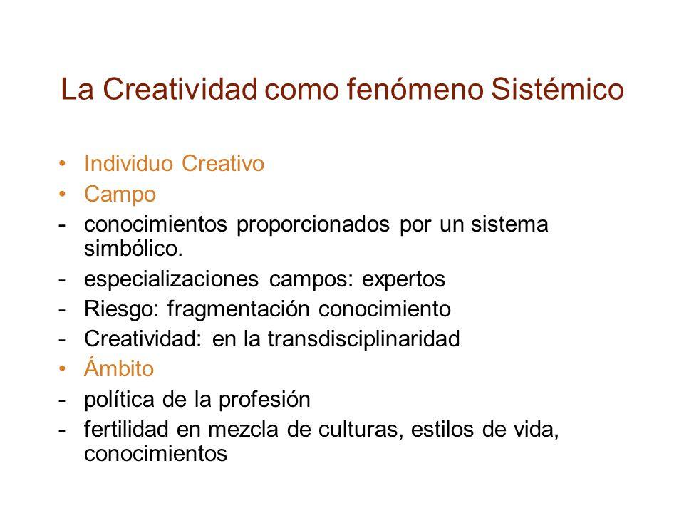 La Creatividad como fenómeno Sistémico Individuo Creativo Campo -conocimientos proporcionados por un sistema simbólico.