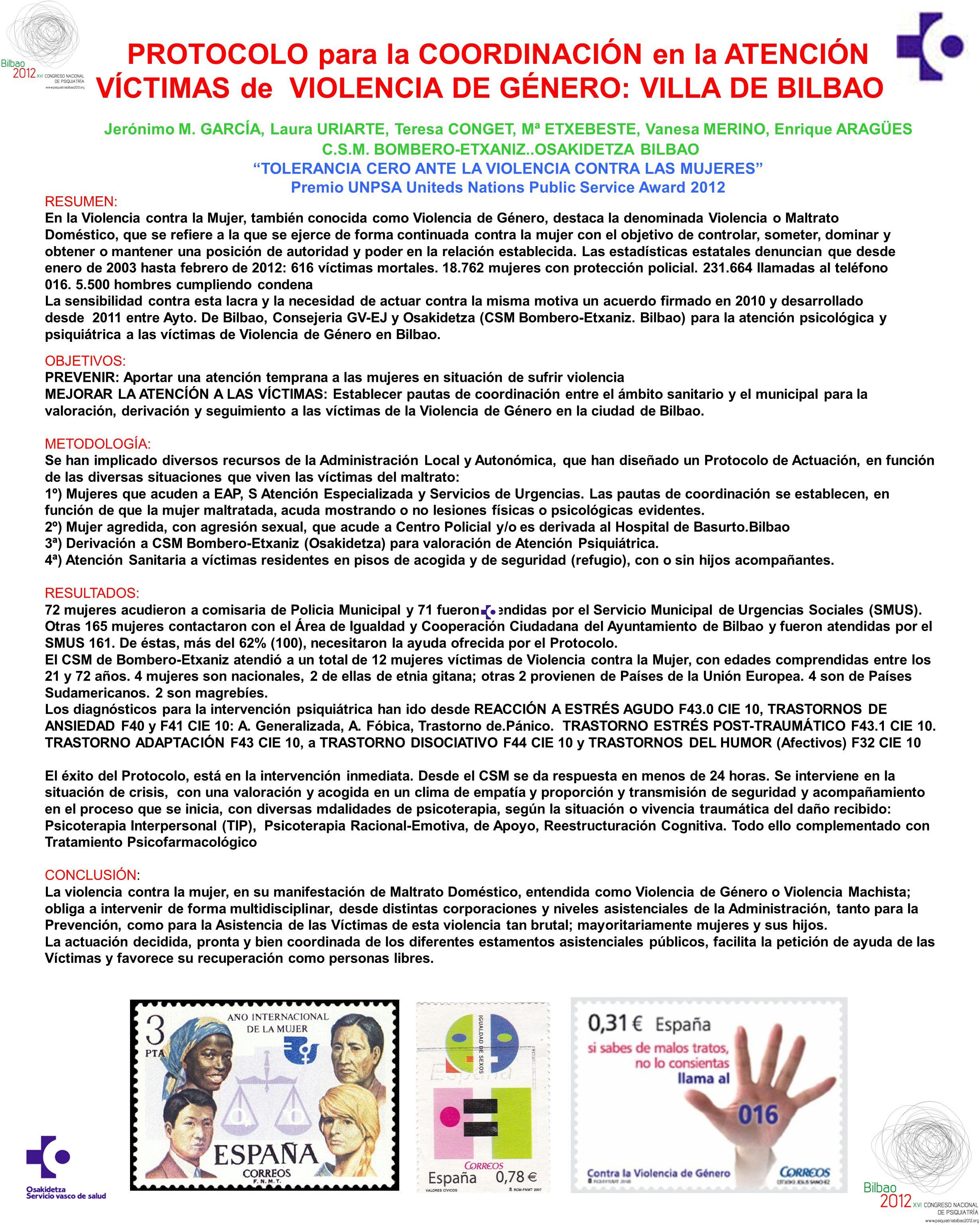 PROTOCOLO para la COORDINACIÓN en la ATENCIÓN VÍCTIMAS de VIOLENCIA DE GÉNERO: VILLA DE BILBAO Jerónimo M.