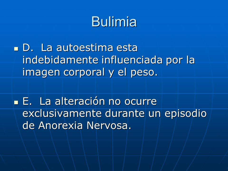 Bulimia D. La autoestima esta indebidamente influenciada por la imagen corporal y el peso.