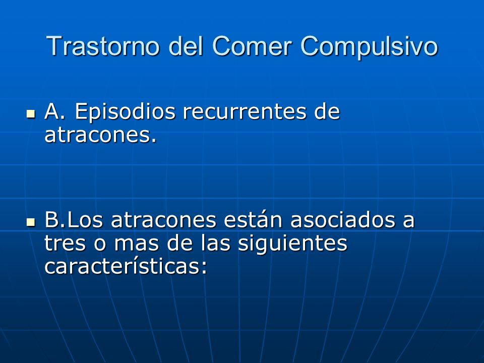 Trastorno del Comer Compulsivo A. Episodios recurrentes de atracones.