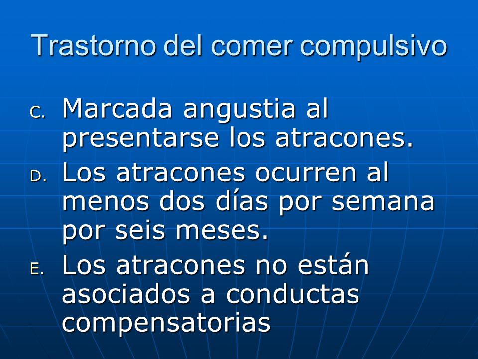 Trastorno del comer compulsivo C. Marcada angustia al presentarse los atracones.