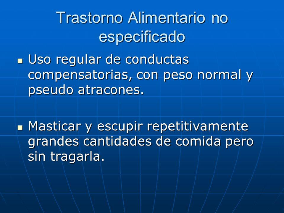 Trastorno Alimentario no especificado Uso regular de conductas compensatorias, con peso normal y pseudo atracones.