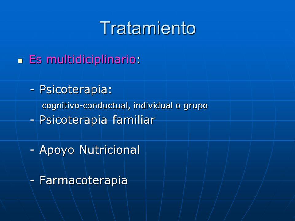 Tratamiento Es multidiciplinario: Es multidiciplinario: - Psicoterapia: - Psicoterapia: cognitivo-conductual, individual o grupo cognitivo-conductual, individual o grupo - Psicoterapia familiar - Psicoterapia familiar - Apoyo Nutricional - Apoyo Nutricional - Farmacoterapia - Farmacoterapia