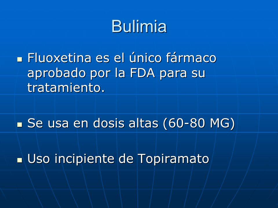 Bulimia Fluoxetina es el único fármaco aprobado por la FDA para su tratamiento.