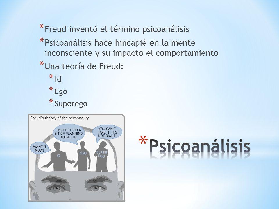 * Freud inventó el término psicoanálisis * Psicoanálisis hace hincapié en la mente inconsciente y su impacto el comportamiento * Una teoría de Freud: * Id * Ego * Superego