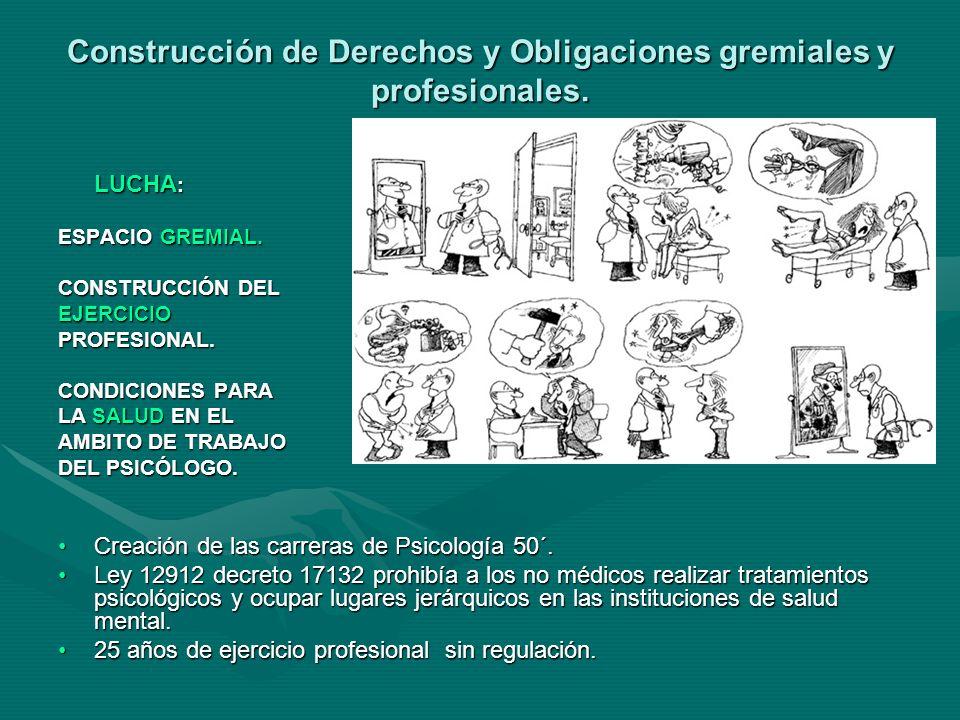 Construcción de Derechos y Obligaciones gremiales y profesionales.