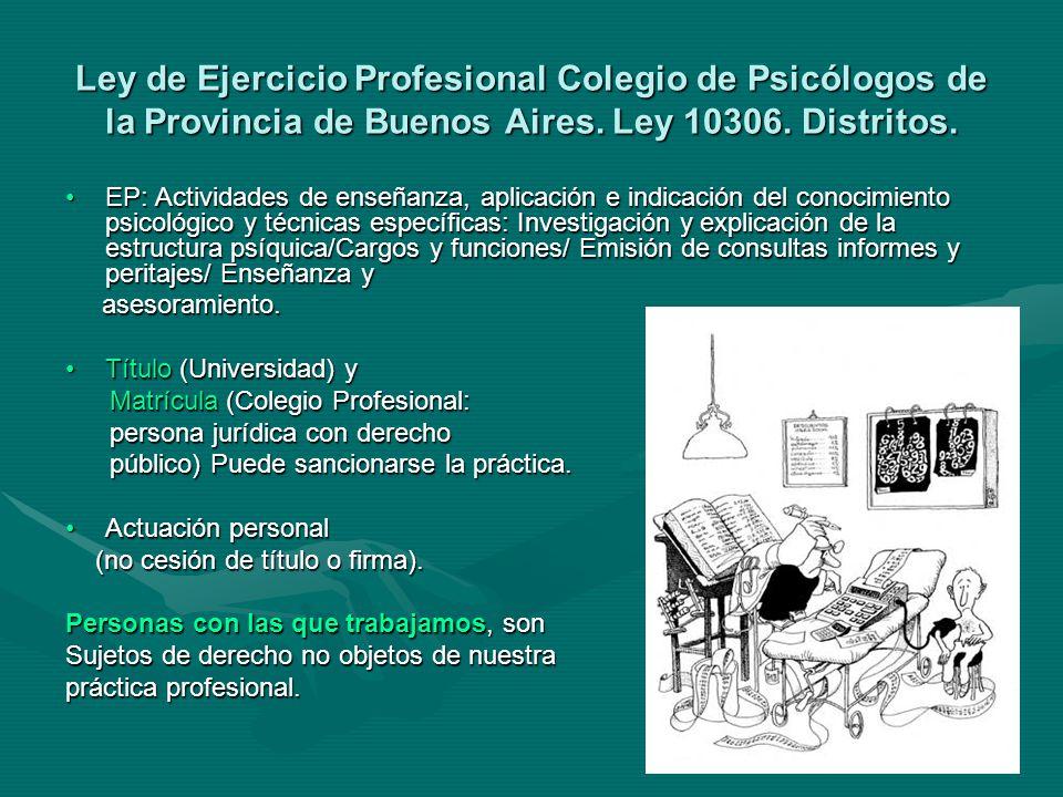 Ley de Ejercicio Profesional Colegio de Psicólogos de la Provincia de Buenos Aires.