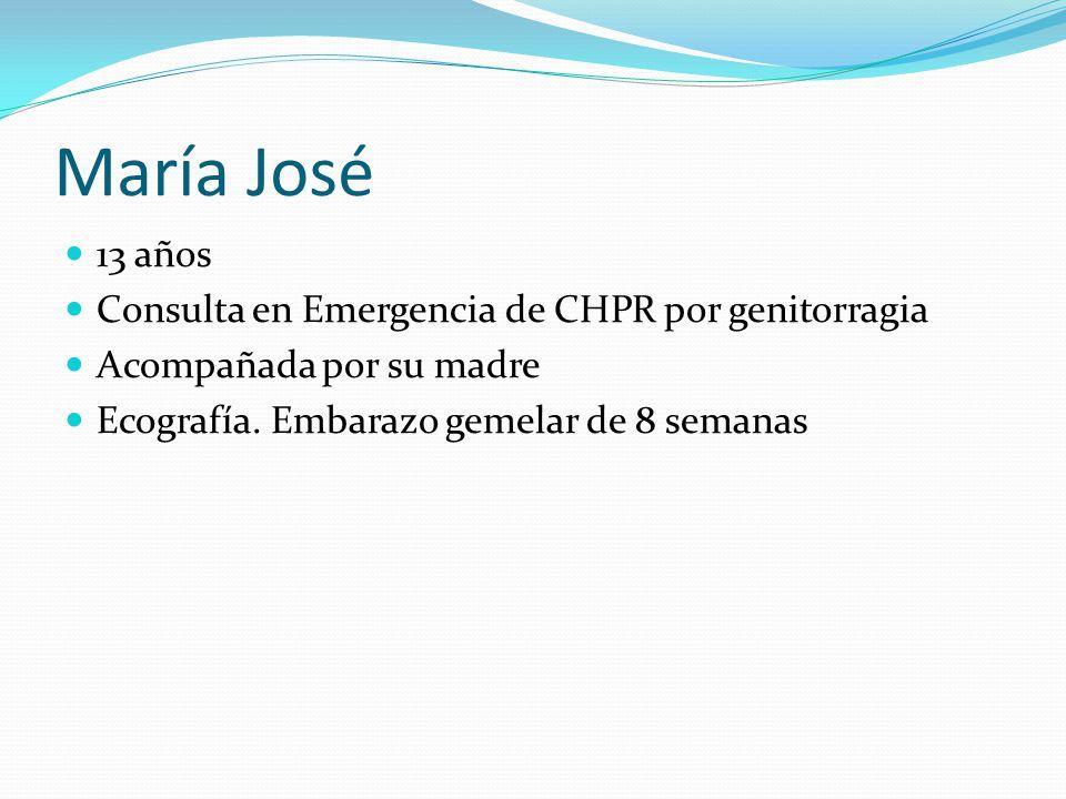 María José 13 años Consulta en Emergencia de CHPR por genitorragia Acompañada por su madre Ecografía.