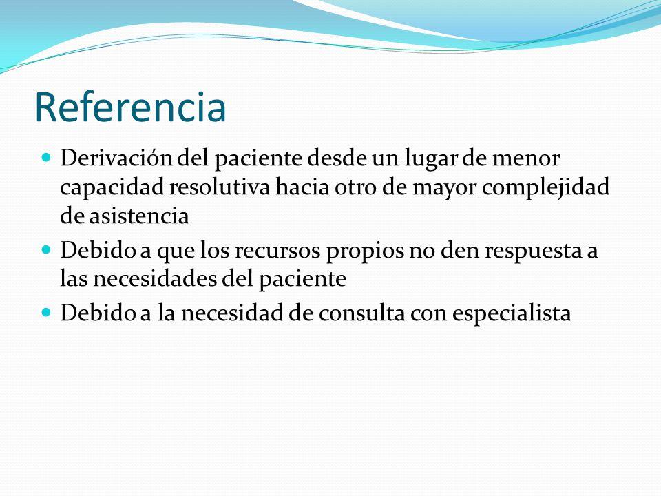 Referencia Derivación del paciente desde un lugar de menor capacidad resolutiva hacia otro de mayor complejidad de asistencia Debido a que los recursos propios no den respuesta a las necesidades del paciente Debido a la necesidad de consulta con especialista