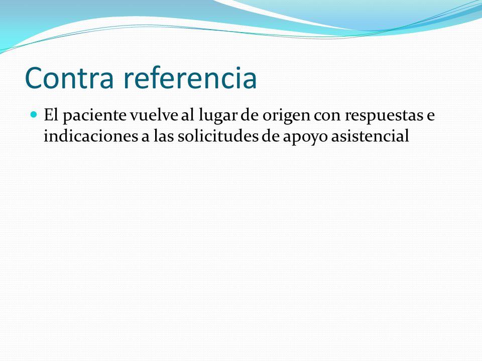 Contra referencia El paciente vuelve al lugar de origen con respuestas e indicaciones a las solicitudes de apoyo asistencial