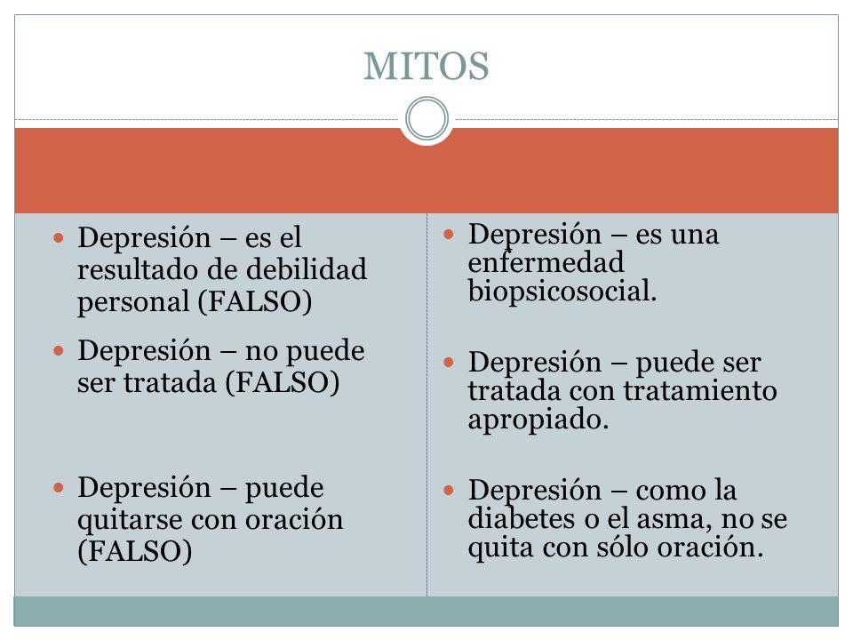 Depresión – es el resultado de debilidad personal (FALSO) Depresión – no puede ser tratada (FALSO) Depresión – puede quitarse con oración (FALSO) Depresión – es una enfermedad biopsicosocial.