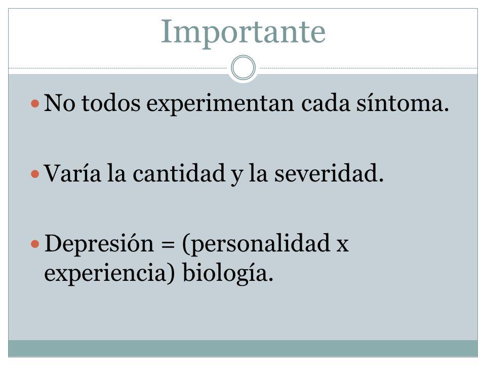 Importante No todos experimentan cada síntoma. Varía la cantidad y la severidad.