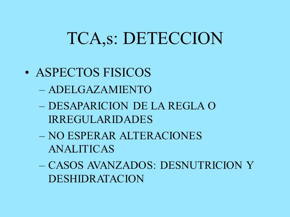 TCA,s: DETECCION ASPECTOS FISICOS –ADELGAZAMIENTO –DESAPARICION DE LA REGLA O IRREGULARIDADES –NO ESPERAR ALTERACIONES ANALITICAS –CASOS AVANZADOS: DESNUTRICION Y DESHIDRATACION