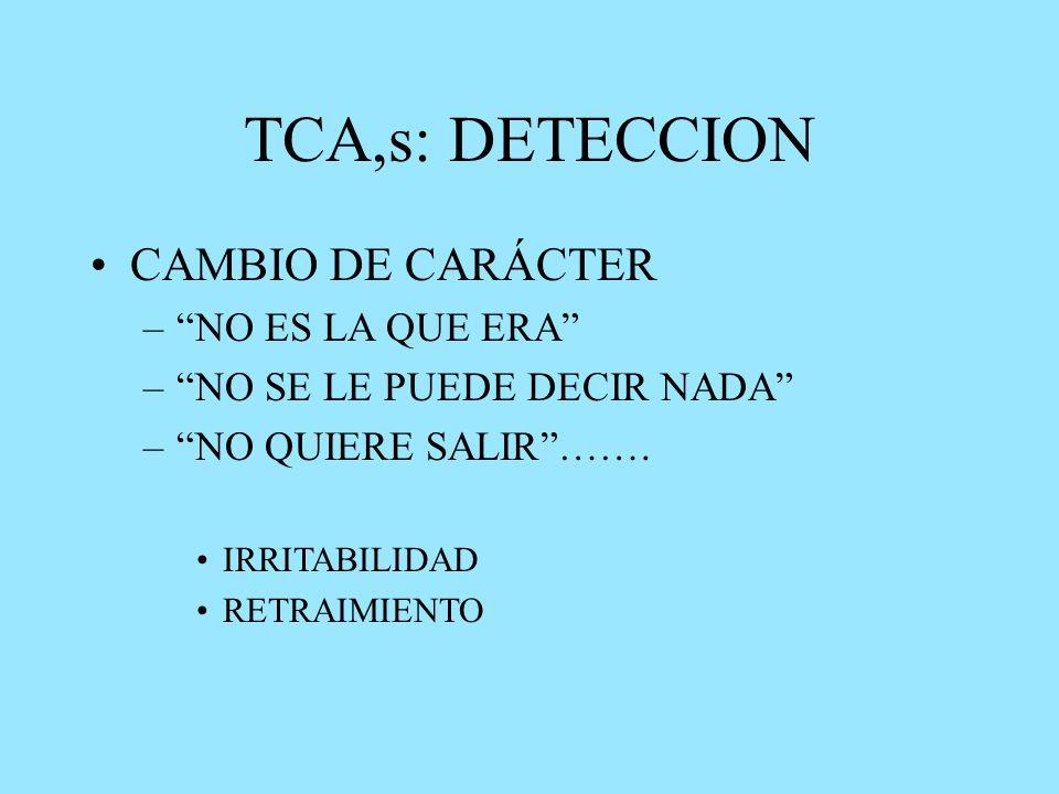 TCA,s: DETECCION CAMBIO DE CARÁCTER – NO ES LA QUE ERA – NO SE LE PUEDE DECIR NADA – NO QUIERE SALIR …….