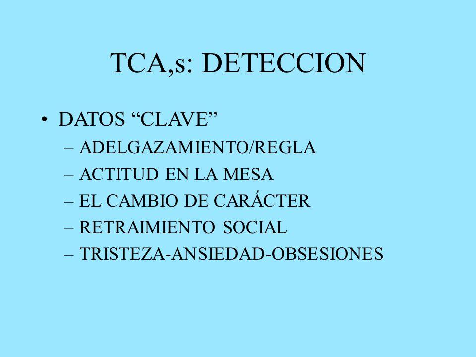 TCA,s: DETECCION DATOS CLAVE –ADELGAZAMIENTO/REGLA –ACTITUD EN LA MESA –EL CAMBIO DE CARÁCTER –RETRAIMIENTO SOCIAL –TRISTEZA-ANSIEDAD-OBSESIONES