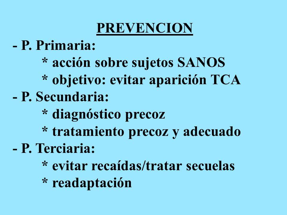 PREVENCION - P. Primaria: * acción sobre sujetos SANOS * objetivo: evitar aparición TCA - P.