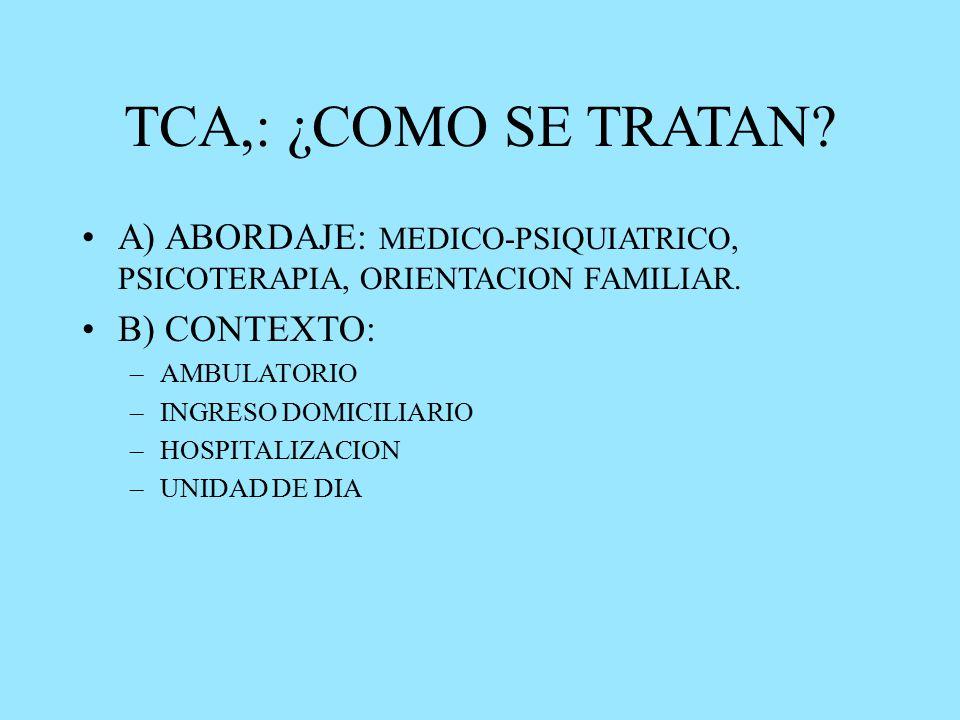 TCA,: ¿COMO SE TRATAN. A) ABORDAJE: MEDICO-PSIQUIATRICO, PSICOTERAPIA, ORIENTACION FAMILIAR.
