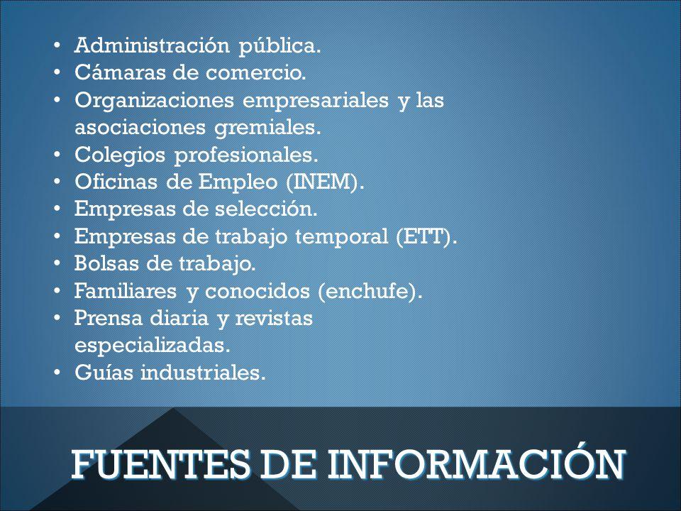 FUENTES DE INFORMACIÓN Administración pública. Cámaras de comercio.