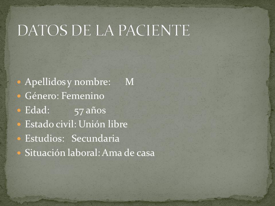 Apellidos y nombre: M Género: Femenino Edad: 57 años Estado civil: Unión libre Estudios: Secundaria Situación laboral: Ama de casa