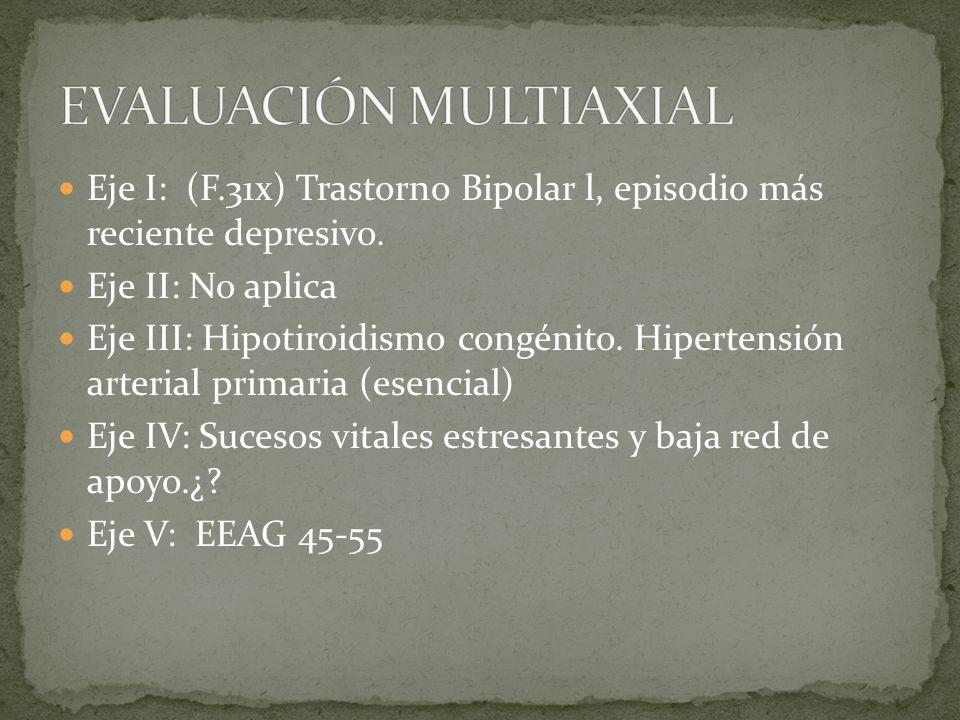 Eje I: (F.31x) Trastorno Bipolar l, episodio más reciente depresivo.